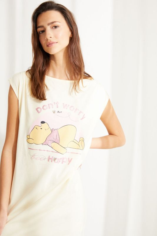 Yellow cotton Winnie the Pooh short-sleeved midi nightgown