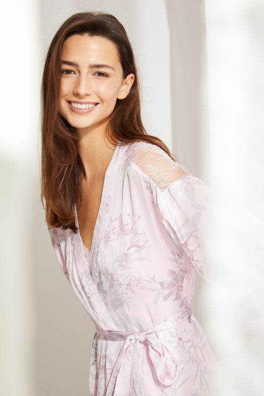 Long wrap-style robe in pink floral print satin with belt