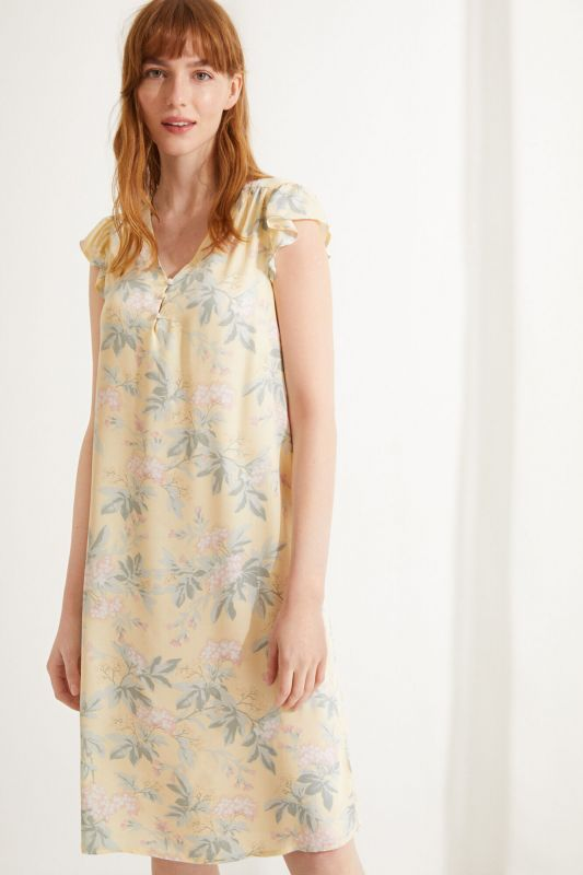 Yellow floral short-sleeved midi nightgown