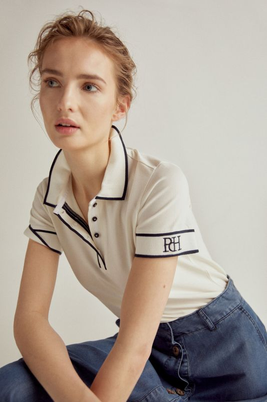 Contrast short-sleeved polo shirt