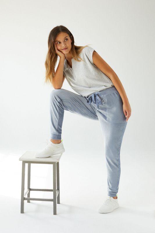 Blue velour trousers
