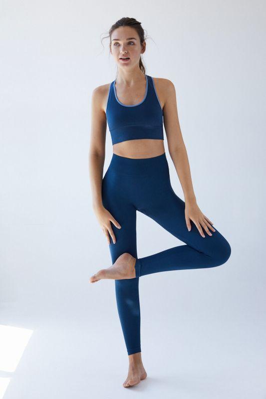 Long blue seam-free leggings