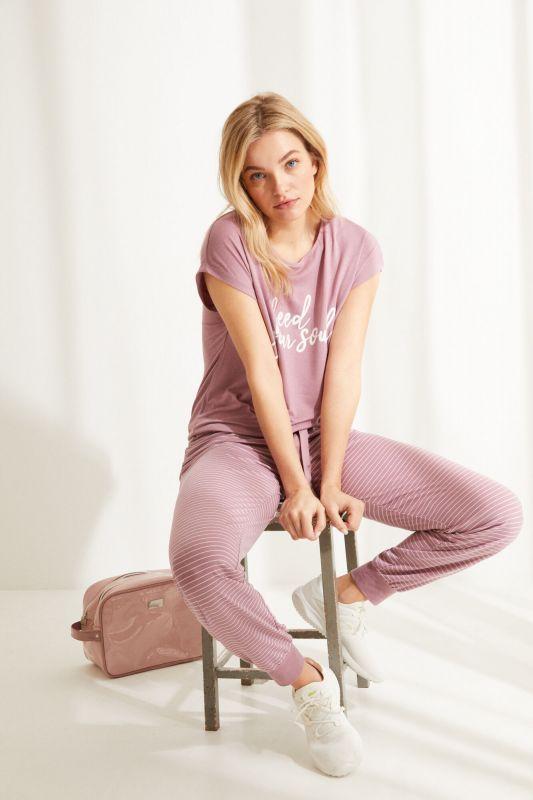 Long pink super soft jersey-knit short-sleeved pyjamas