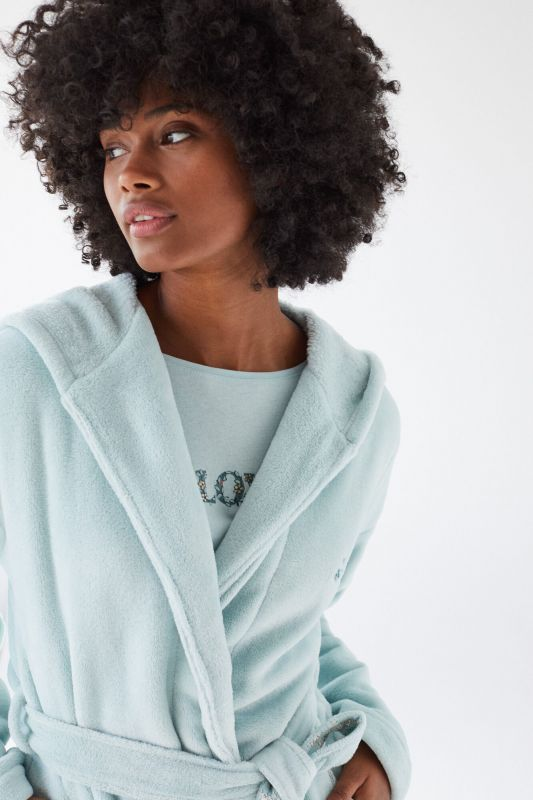 Green fluffy robe