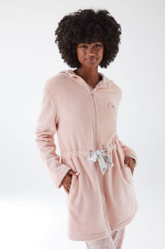 Pink fluffy robe with zip