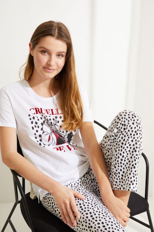 White cotton Cruella de Vil long pyjamas