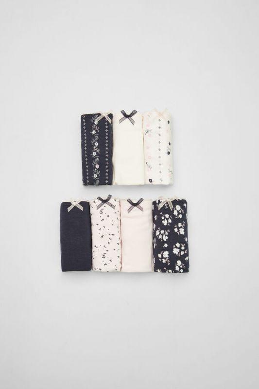 7-pack of floral cotton Brazilian panties