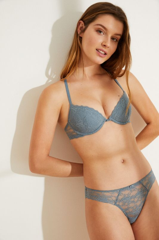 Classic blue lace hipster panty