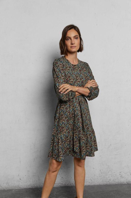 Flounced jersey-knit dress