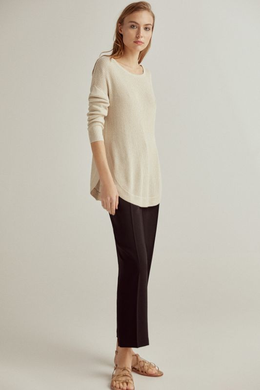 Ribbed lurex boat neck jumper with rounded hem