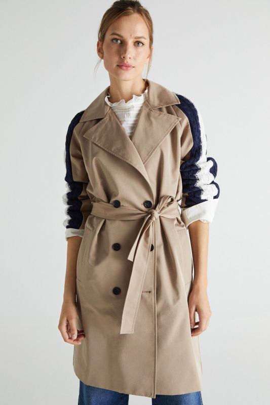 Jersey-knit trench coat with sleeves