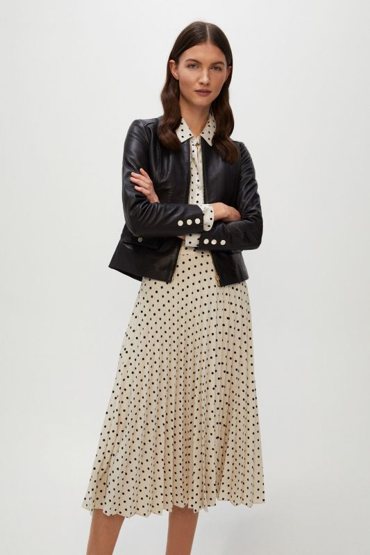 Pleated polka-dot midi skirt