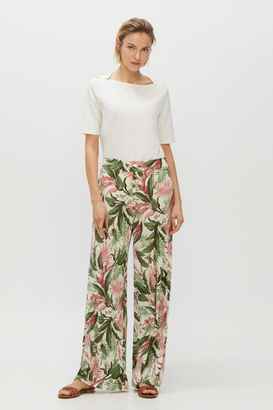 Fluid printed jersey-knit trousers