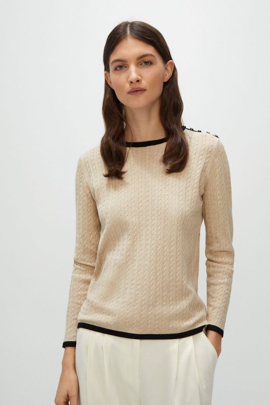 Contrast cross-knit jumper
