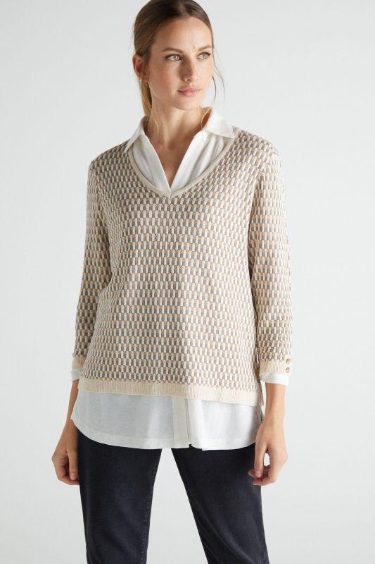 Geometric micro jacquard jumper