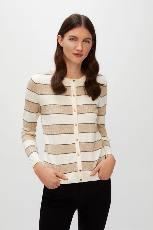 Striped and cross-knit jacket