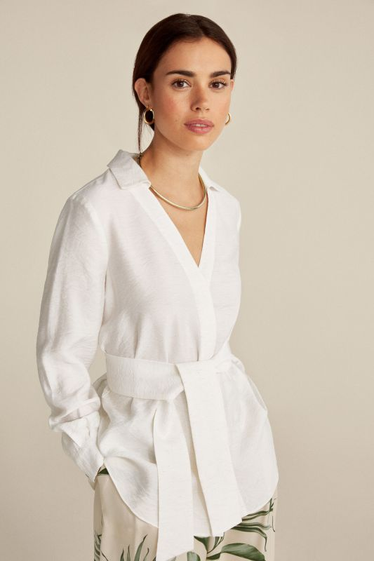 Belted shirt blouse