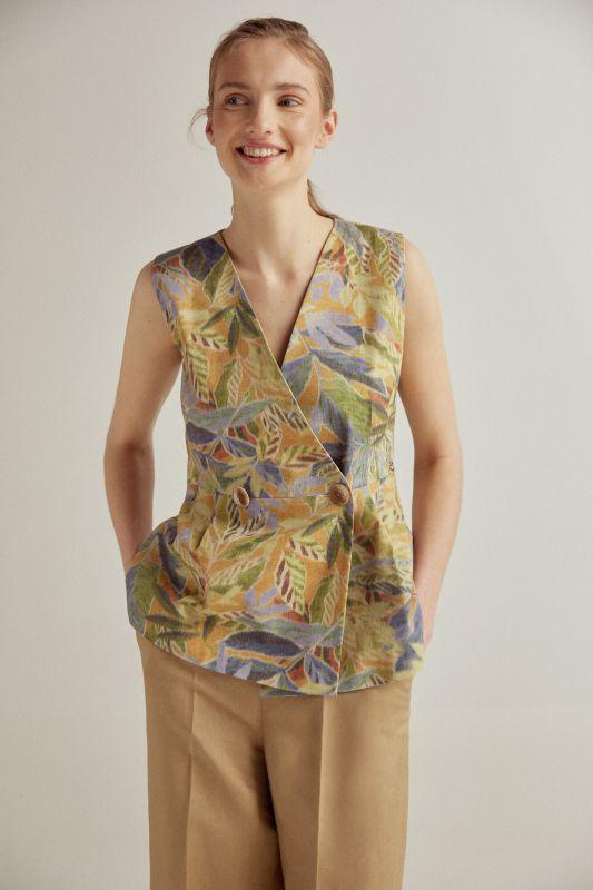 Printed crossover waistcoat
