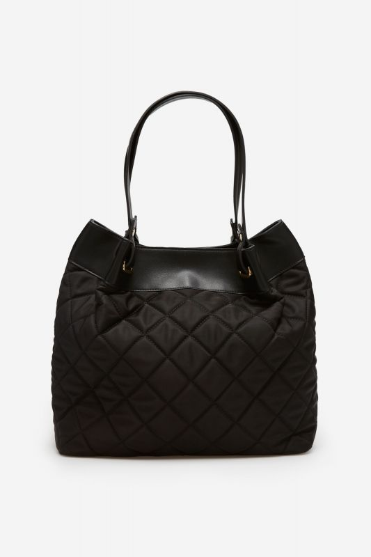 Quilted nylon slouch bag