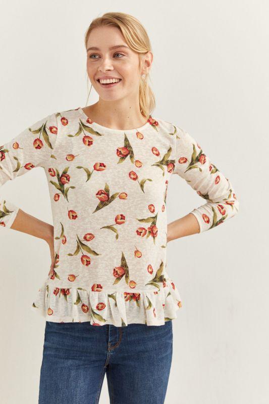 Printed flounced hem t-shirt