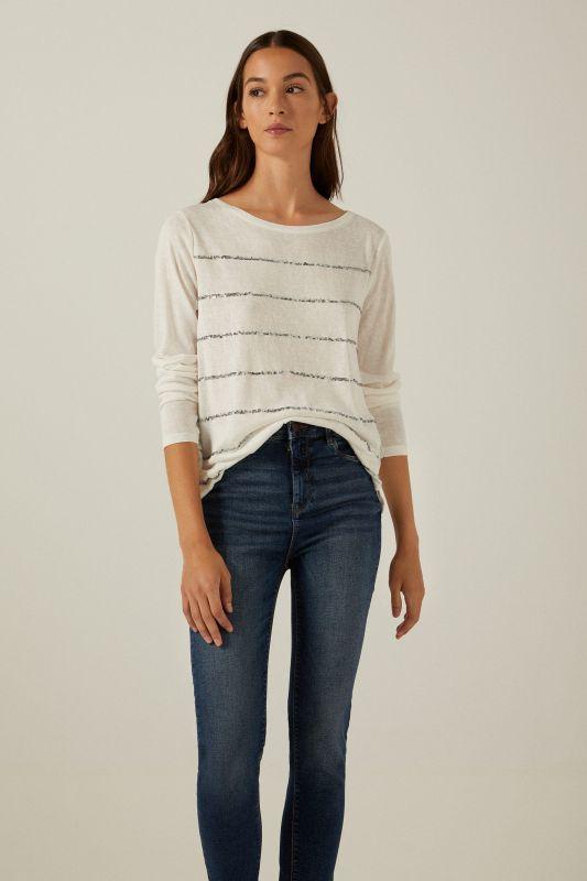 Sequin striped T-shirt