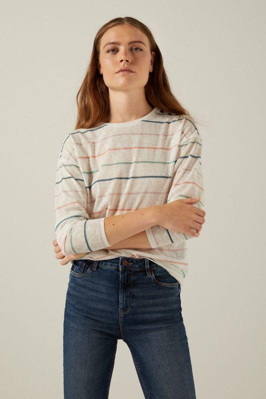 Shoulder buttons linen look T-shirt