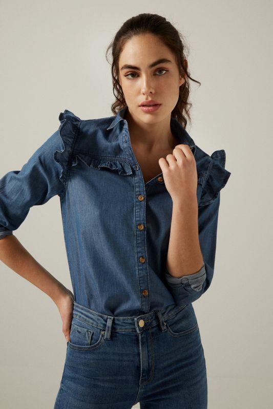 Sustainable wash flounced denim blouse