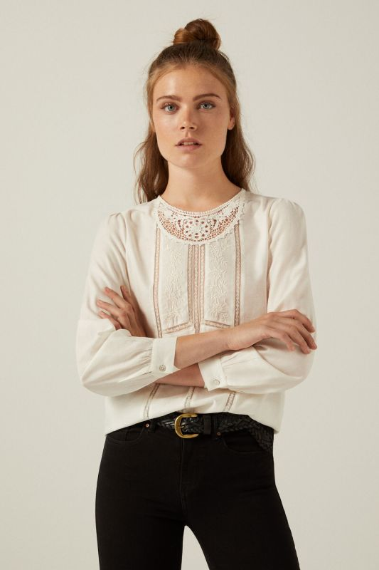 Romantic embroidered lace trim blouse