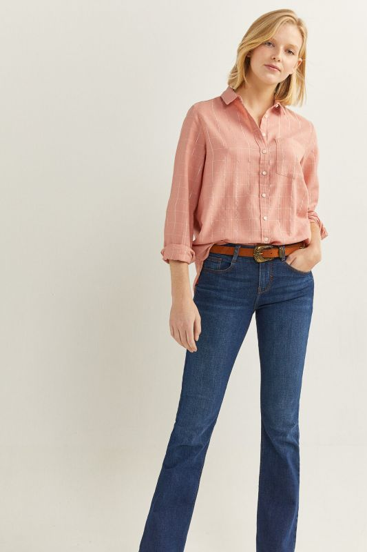 Pink Checked Lurex Blouse