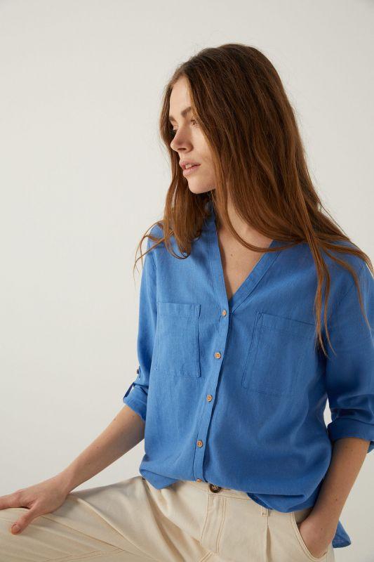 Organic cotton linen mandarin collar blouse.