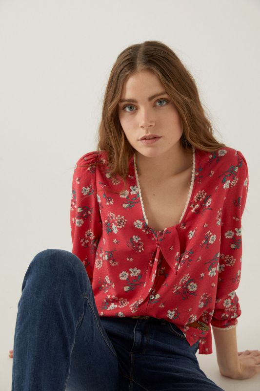 Knot neckline blouse
