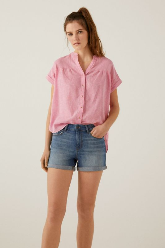 Organic cotton linen mandarin collar blouse
