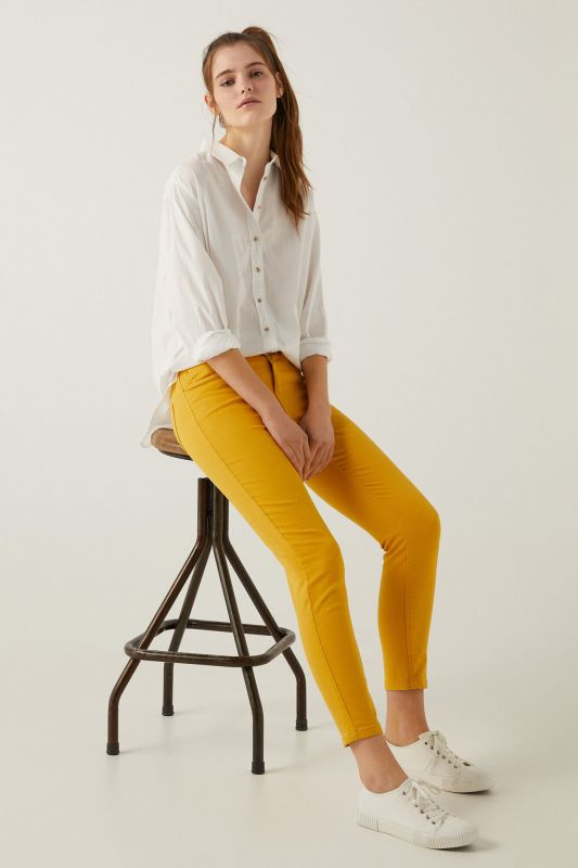 Slim cropped eco dye coloured trousers
