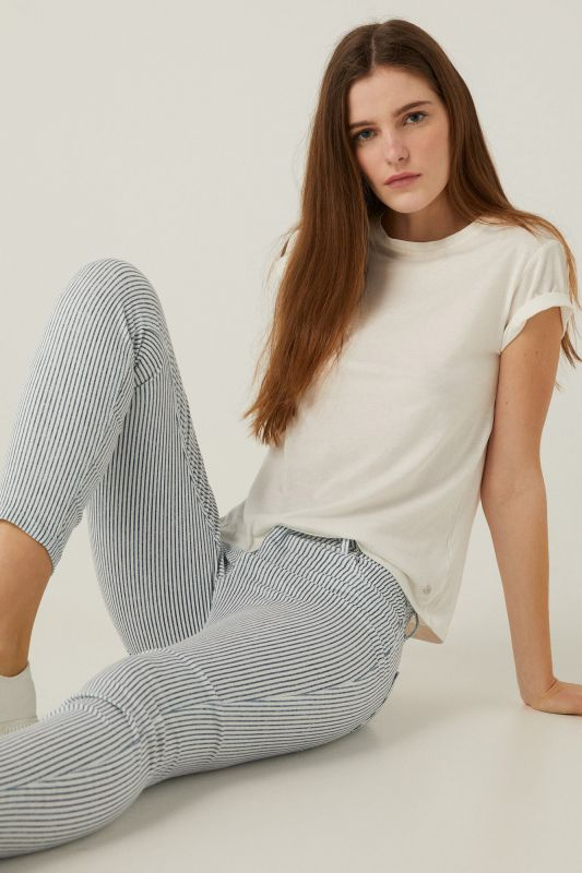 Striped slim fit cropped trousers