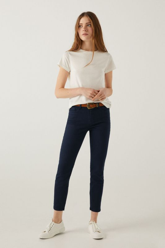Slim fit cropped eco dye trousers