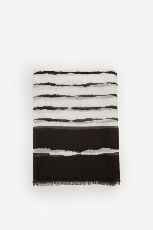 Striped print fine scarf