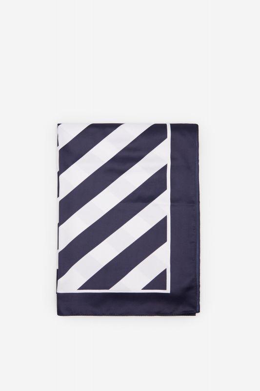 Navy blue striped silk feel scarf