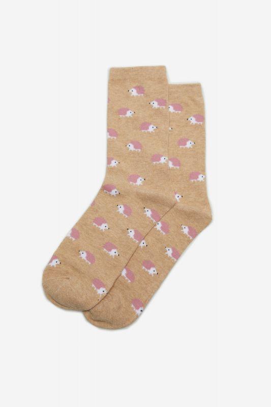 Long hedgehog print socks
