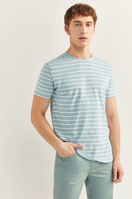 EMBROIDERED MICRO STRIPED T-SHIRT