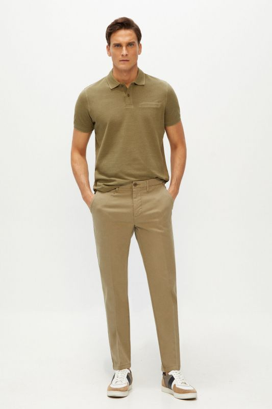 Textured slim fit trousers with elasticated waist