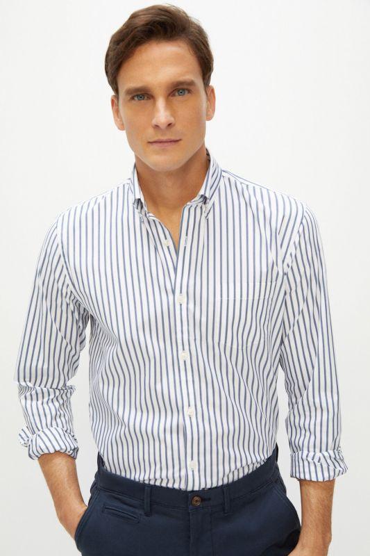 Striped slim fit Coolmax Ecomade® All Season stretch shirt