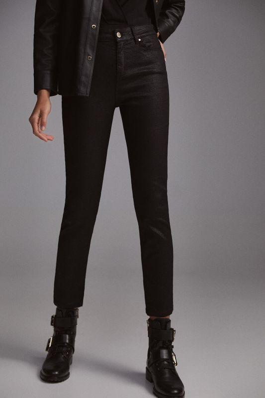 Patterned faux leather skinny trousers