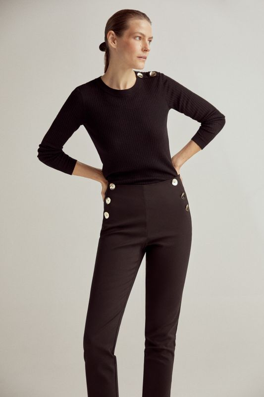 Slim trousers with button detail