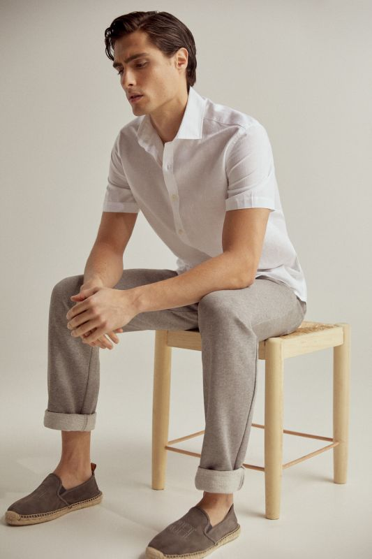 At Home collection plain short-sleeved linen/cotton shirt