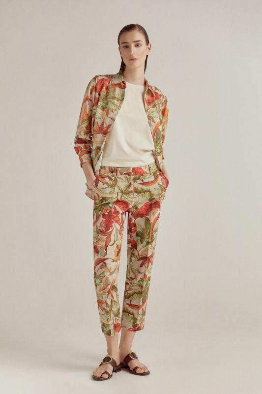 Slim fit printed trousers