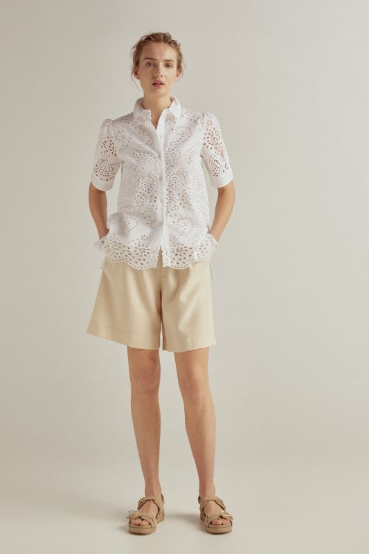Embroidered fabric shirt blouse