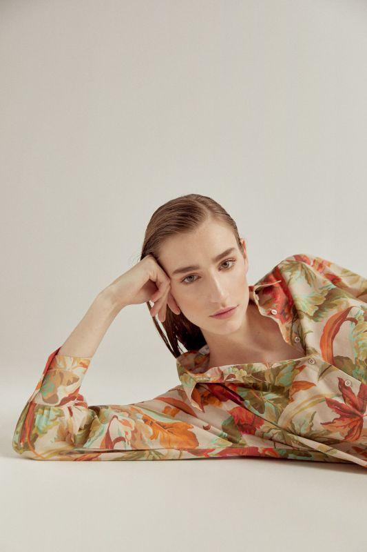 Printed organic cotton blouse