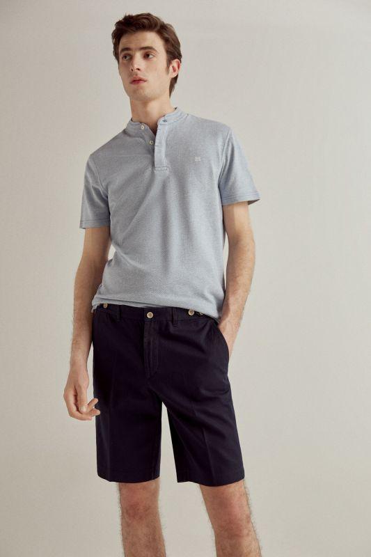 False plain textured Bermuda shorts