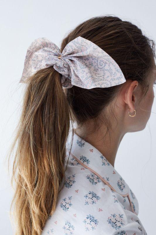 Gold detail tie scrunchie