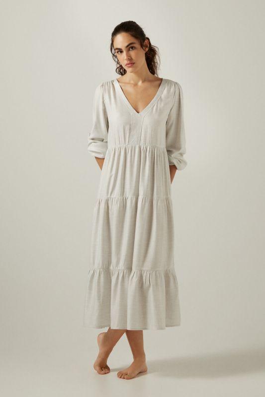 Sustainable viscose pleated midi dress